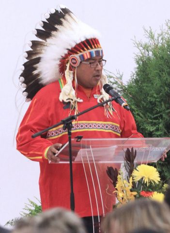 Chief Saddleback, Samson Cree Nation, choose to attend the opening rather than a politically-important event in Edmonton. (Credit: Jordie Dwyer, Ponoka News)